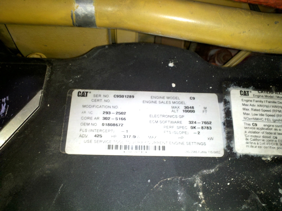 RV Chassis Parts USED CATERPILLAR MOTOR   CAT C9 DIESEL