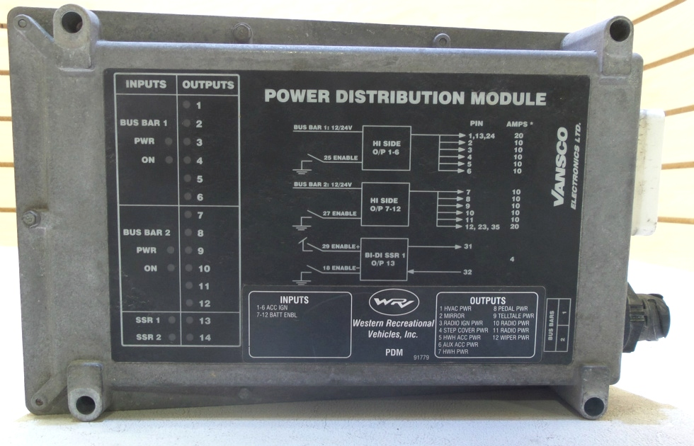 USED POWER DISTRIBUTION MODULE VANSCO MODEL 67487 FOR SALE RV Chassis Parts