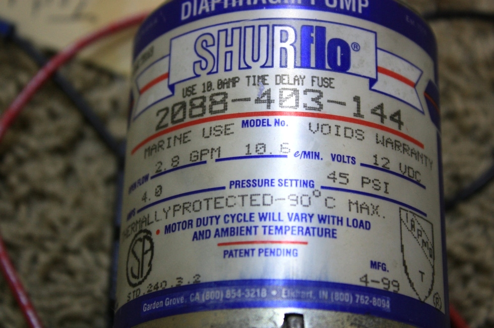 Rv components used shurflo water pump 2088 403 144 for sale used shurflo water pump 2088 403 144 for sale rv components ccuart