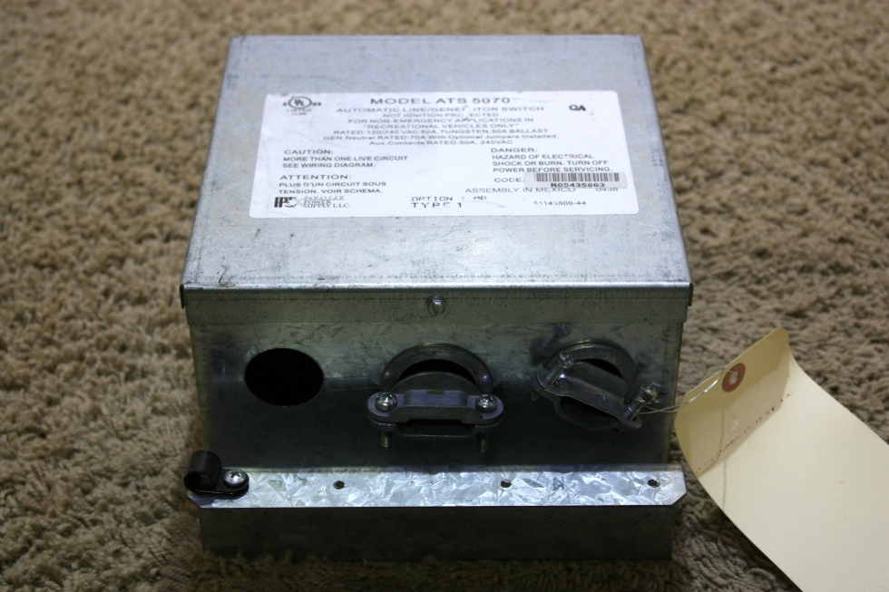 USED MOTORHOME PARALLAX POWER SUPPLY ATS 5070 AUTOMATIC LINE/GENERATOR SWITCH FOR SALE RV Components