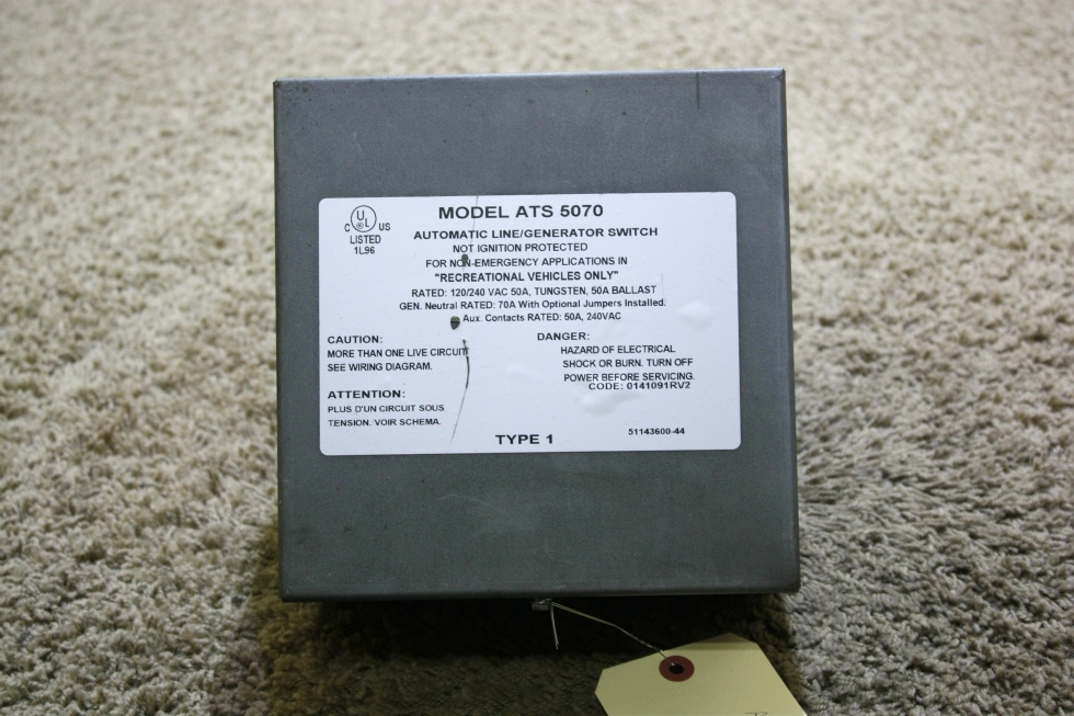 USED MOTORHOME AUTOMATIC LINE/GENERATOR SWITCH MODEL ATS 5070 FOR SALE RV Components