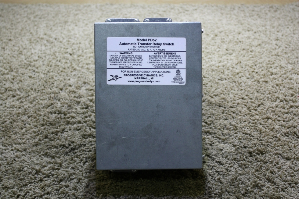 USED RV PROGRESSIVE DYNAMICS PD52 AUTOMATIC TRANSFER RELAY SWITCH FOR SALE RV Components