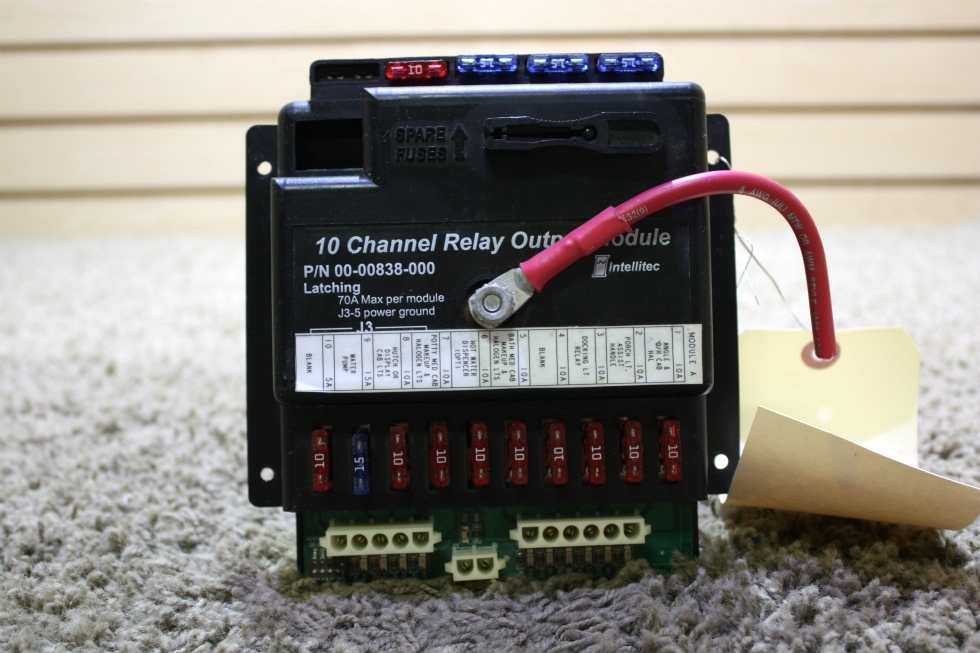 USED RV 00-00838-000 10 CHANNEL RELAY OUTPUT MODULE BY INTELLITEC FOR SALE RV Components