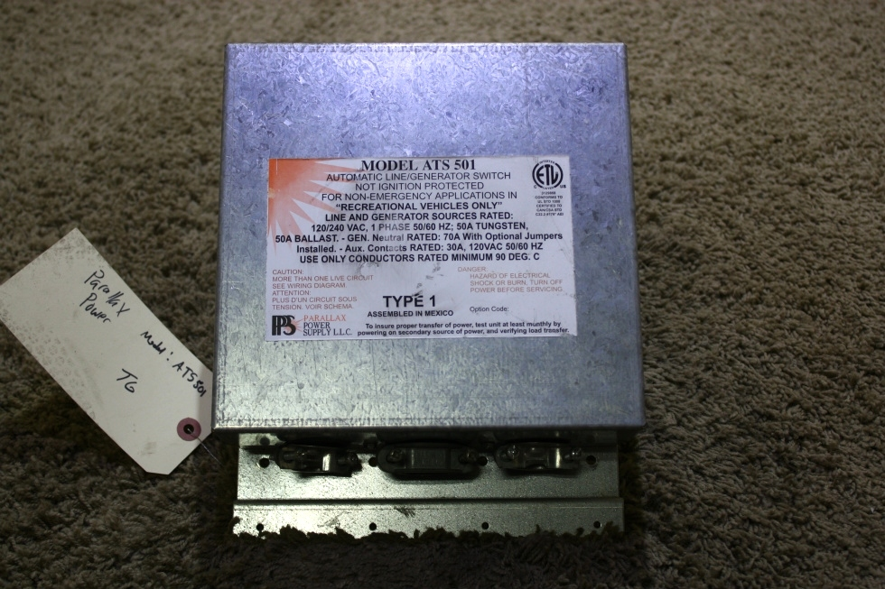 USED MOTORHOME ATS 501 PARALLAX POWER SUPPLY AUTOMATIC LINE/GENERATOR SWITCH FOR SALE RV Components