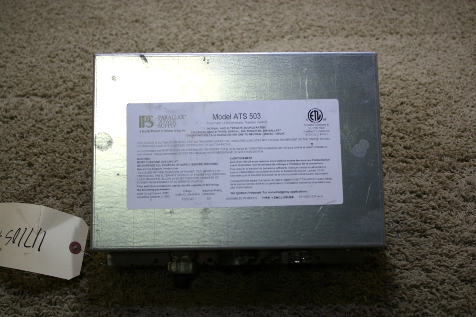USED RV ATS 503 PARALLAX POWER SUPPLY AUTOMATIC LINE/GENERATOR TRANSFER SWITCH FOR SALE RV Components
