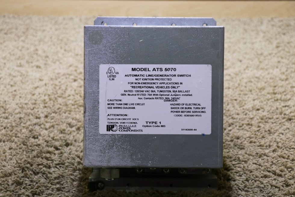 USED PARALLAX POWER COMPONENTS ATS 5070 AUTOMATIC LINE / GENERATOR SWITCH RV PARTS FOR SALE RV Components