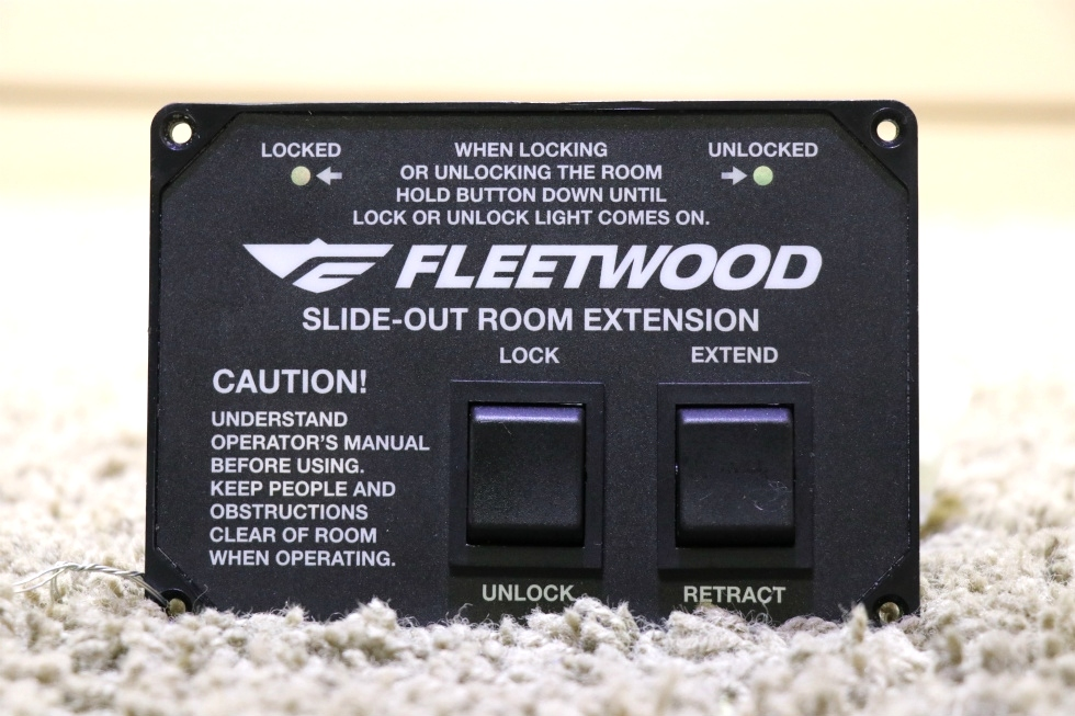 USED MOTORHOME FLEETWOOD SLIDE-OUT ROOM EXTENSION SWITCH PANEL FOR SALE RV Components