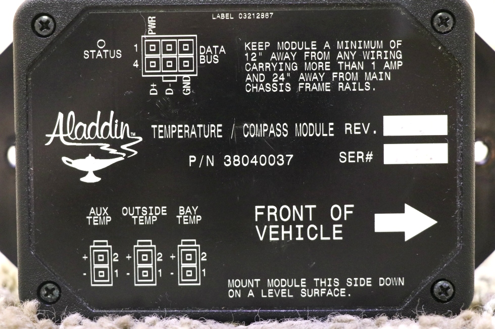 USED MOTORHOME ALADDIN TEMPERATURE / COMPASS MODULE 38040037 RV PARTS FOR SALE RV Components