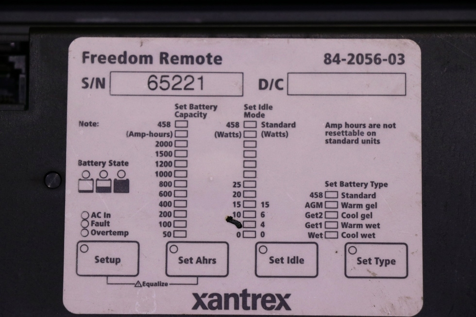 USED RV XANTREX FREEDOM REMOTE 84-2056-03 MOTORHOME PARTS FOR SALE RV Components