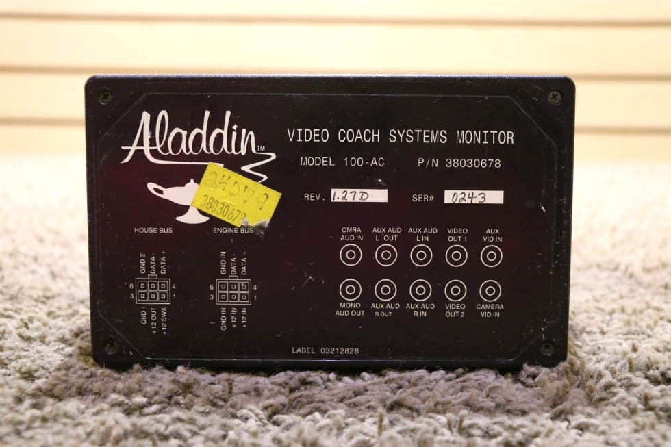 USED RV ALADDIN VIDEO COACH SYSTEMS MONITOR 38030678 MOTORHOME PARTS FOR SALE RV Components