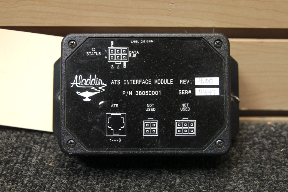 USED RV/MOTORHOME ALADDIN ATS INTERFACE MODULE 38050001 SN: 0447 REV: 4.00 RV Components
