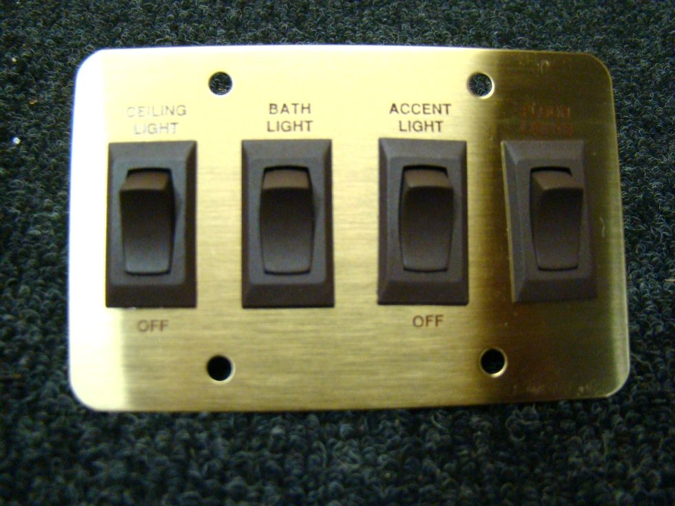 NEW/OLD STOCK RV/MOTORHOME SIGMA 4 WAY GOLD/BROWN LIGHT PLATE SWITCH P/N: 4.128.745 PRICE:$58.00  RV Components