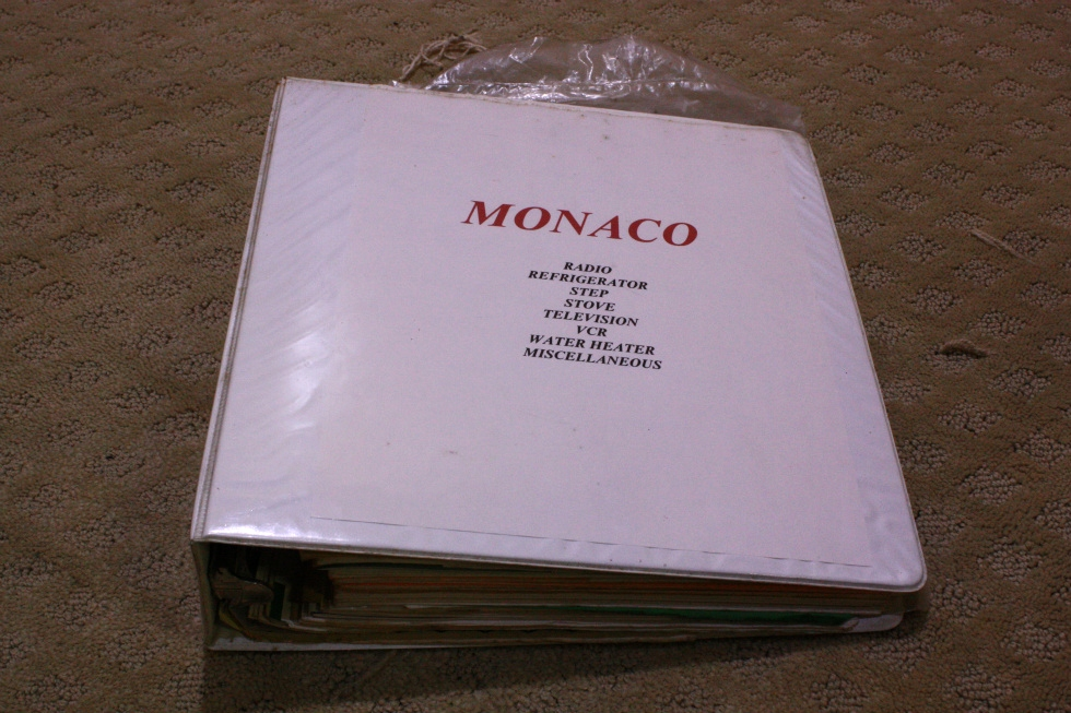 USED MONACO OWNERS MANUAL BINDER FOR SALE RV Accessories