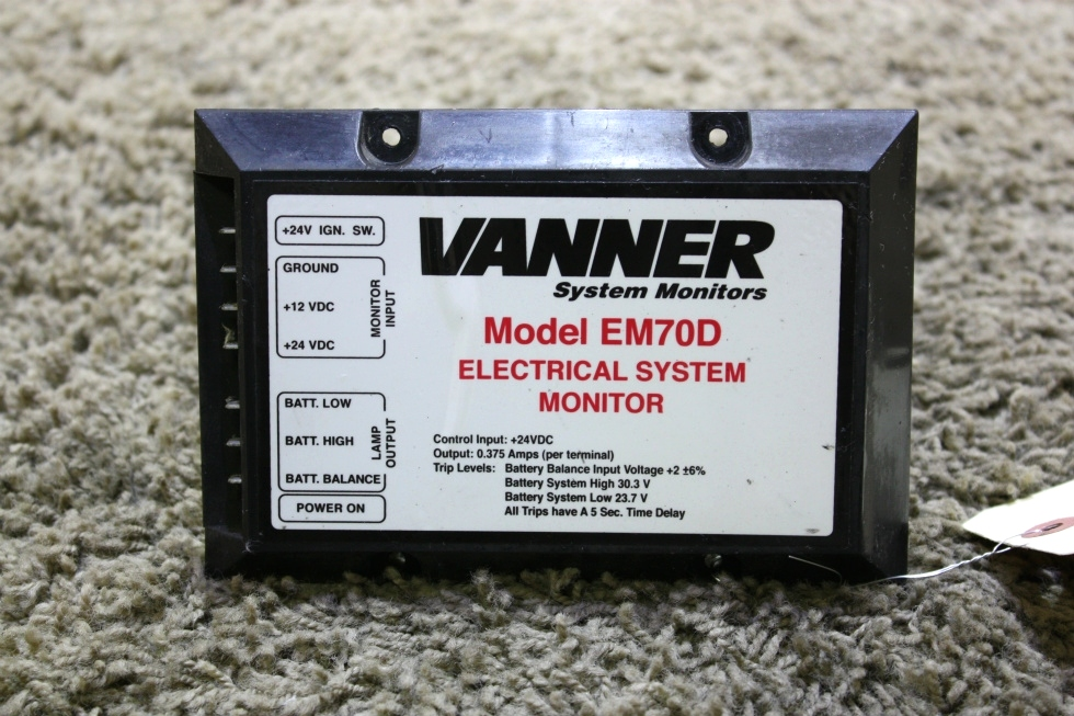 USED EM70D VANNER ELECTRICAL SYSTEM MONITOR MOTORHOME PARTS FOR SALE RV Accessories