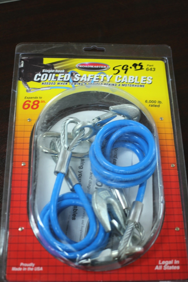 NEW RV/MOTORHOME ROADMASTER SINGLE-HOOK COILED SAFETY CABLES P/N: 643 Towing Products