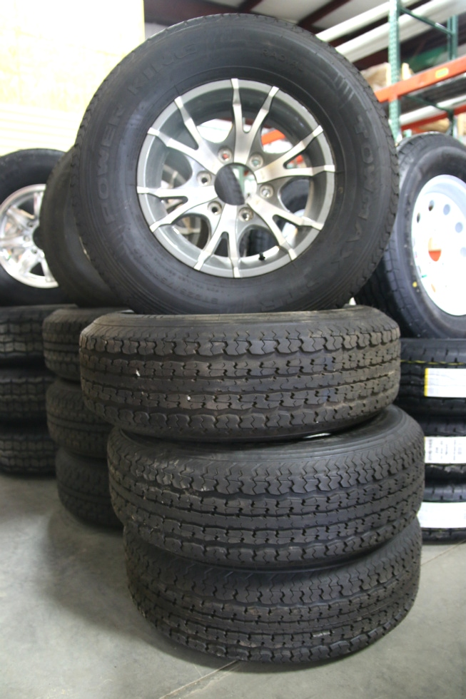 SET OF 4 POWER KING TOWMAX STR ST225/75R15 TIRES & ALUMINUM 6 LUG WHEELS Towing Products