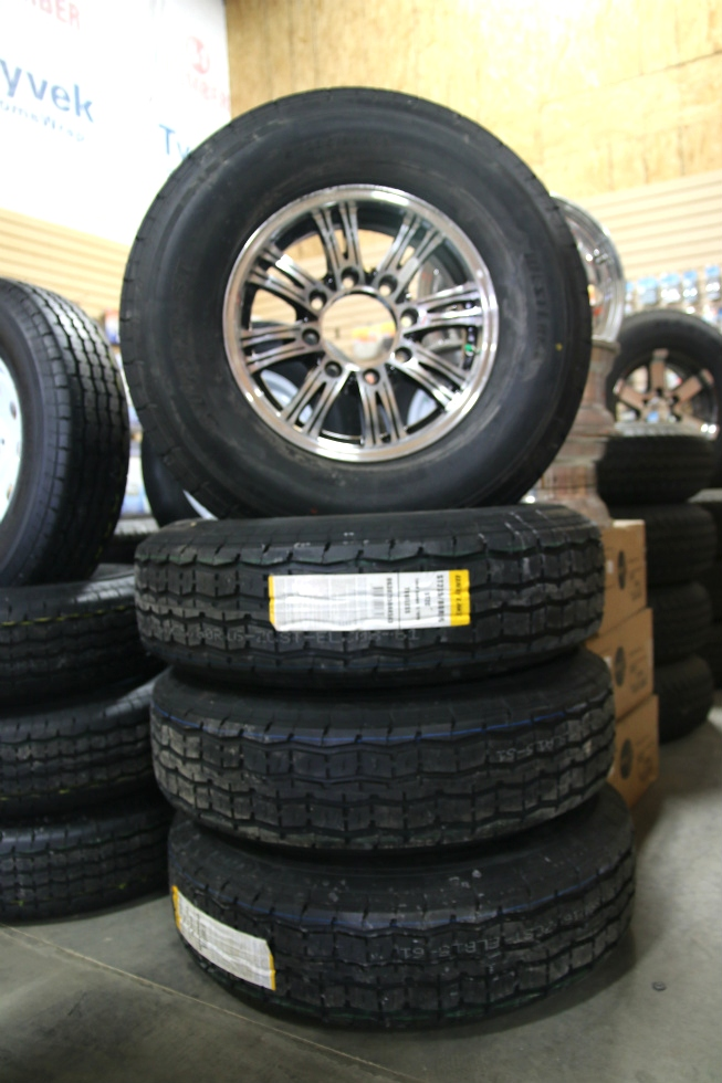 SET OF 4 WEST LAKE ST235/80R16 TIRES & 16 IN. BLACK & ALUMINUM WHEELS Towing Products