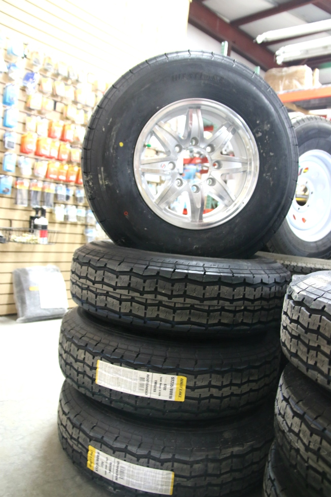 SET OF 4 WEST LAKE ST235/80R16 TIRES & 16 INCH ALUMUNUM WHEELS Towing Products