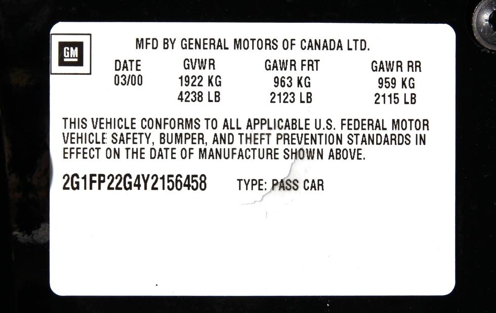 2000 CHEVROLET CAMARO SS FOR SALE RV Parts
